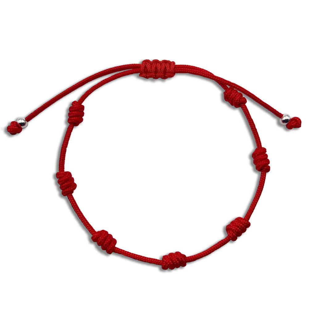 Pulsera Roja con 7 Nudos o Chakras