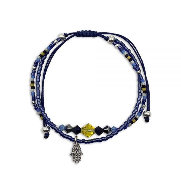 Pulsera Ajustable con Mano de Fátima Hamsa de Plata con Doble Cordón Azul Marino Decorada con Cristales de Swarovski ®