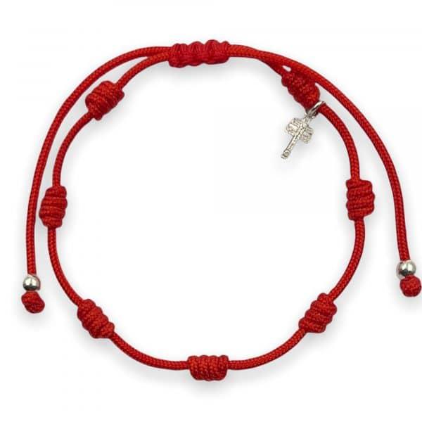 Pulsera roja 7 nudos cruz caravaca Alessandra Boho